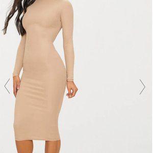 NWT Pretty Little Thing Nude/ Cream Midi dress